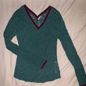 Free People Long-Sleeve Lace Top